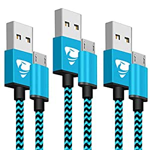 Aione Cable Micro USB,[3-Pack,2M] Cargador Android Cable Cargador movil Trenzado de Nylon Compatible con Samsung Galaxy A10 S6 S7 J5 J7,Huawei P8 P9 ...
