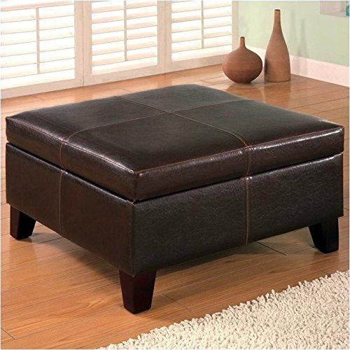 coaster-501042-dark-brown-leather-vinyl-storage-ottoman-with-wood-legs