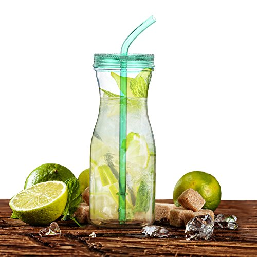 SH Tritan Water Bottle With Straw by SimpleHH: BPA Free Cold Drink/Water Container | 33oz Dishwasher-Safe Tumbler | Extra Wide Mouth w/Easy Twist Lid, Tiffany (Plastic Tumbler With Straw)