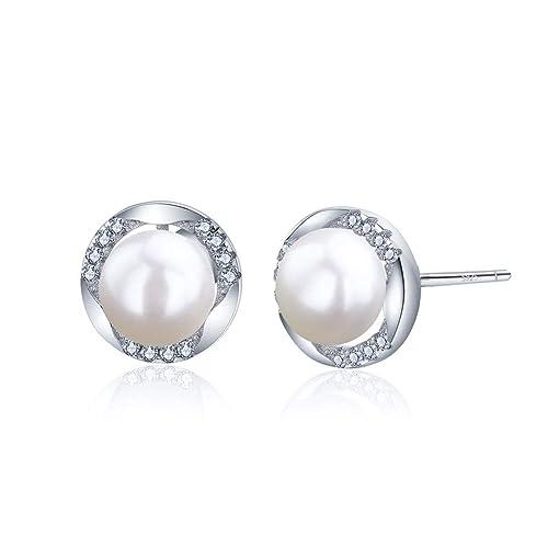 wie man serch detaillierte Bilder farblich passend Perlen Ohrringe Silber 925 ohrstecker Damen Für Mädchen Runde Perle 3A  Zirkonia ZENI SILVER