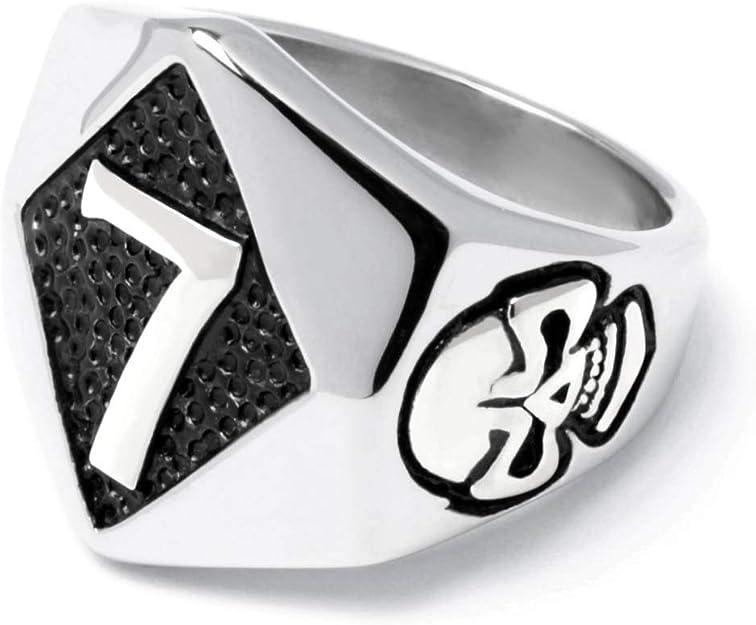 Schmuck Checker Lucky 7 Ring aus 316L Edelstahl mit