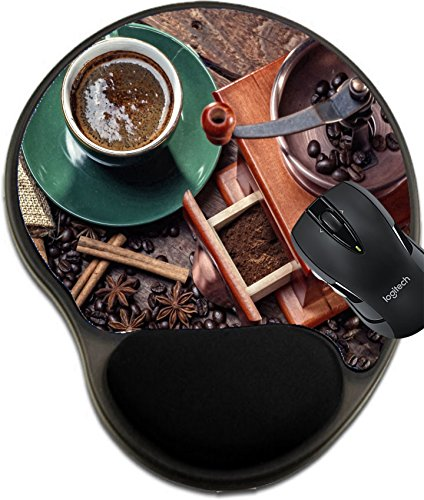 MSD Mousepad wrist protected Mouse Pads/Mat with wrist support hot cup of coffee and fresh coffee beans and coffee grinder Image 25036271 Customized Tablemats Stain Resistance Collector Kit Kitchen T