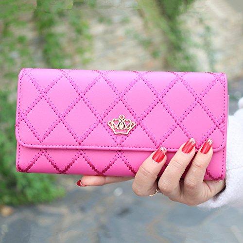 CC * CD cartera de mujer de piel sintética bolso de mano Tarjeta de crédito embrague titular caso, piel sintética, Rosa, morado Rosy