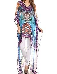Sakkas Zeke Hi Low V-Neck Caftan Dress Printed Top Cover / Up
