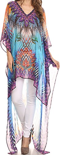 Georgette Caftan (Sakkas KF5032A - HiLowKaftan Zeke Hi Low V-Neck Caftan Dress Boxy Printed Top Cover / Up - Turq Purple / Multi - OS)