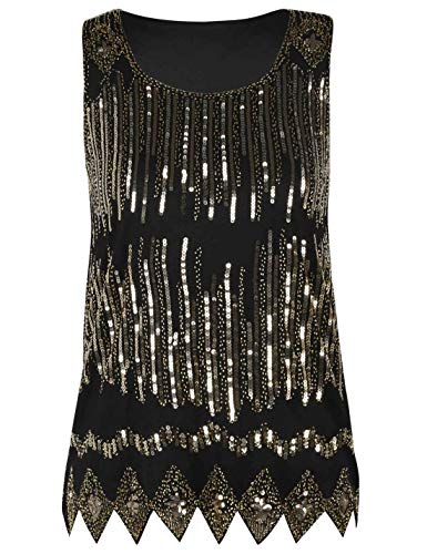 PrettyGuide Women's Sparkle Tank Top Sleeveless Cocktail Sequin Party Top S Gold