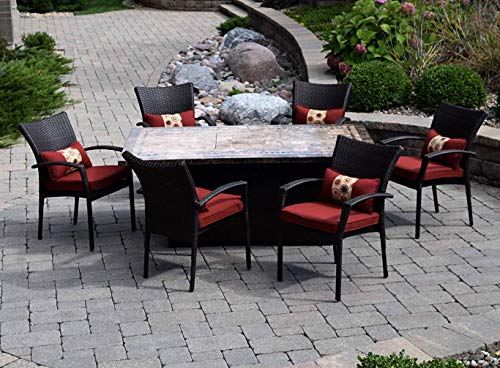 Patio Dining Set. Medium Outdoor Furniture Kit Of Aluminum, Resin Wicker, Marble For Porch, Lawn, Pool, Garden, Conversation, 6 Person. Outside, Rectangle Fire Pit Table, Chairs With Cushions (Brown)