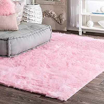 nuLOOM Cloud Faux Sheepskin Soft & Plush Shag Rug, 3' x 5', Pink - Soft and Plush Faux Sheepskin Shag Machine-woven Latex backing - living-room-soft-furnishings, living-room, area-rugs - 51MCEURGZ2L. SS400  -