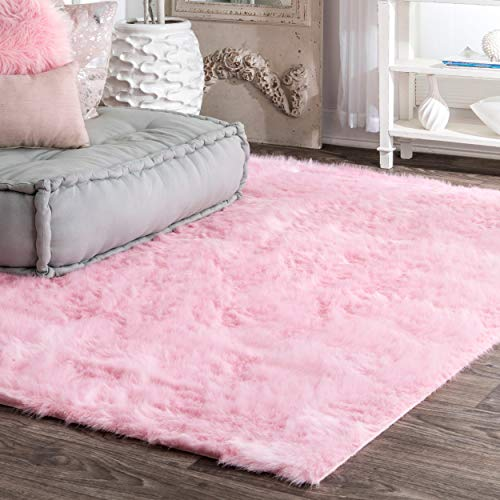 - nuLOOM Faux Sheepskin Cloud Solid Soft and Plush Shag Round Area Rug, 5', Ivory-P