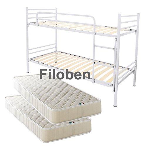 Filoben Stockbett mit Lattenrost und Matratzen weiß
