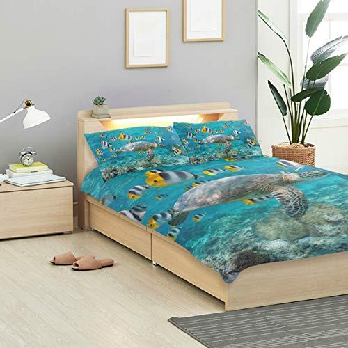 KVMV Green Sea Turtle School Tropical Fish Duvet Cover Set Design Bedding Decoration Twin XL 3 PC Sets 1 Duvets Covers with 2 Pillowcase Microfiber Bedding Set Bedroom Decor Accessories