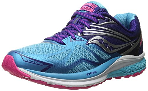 Saucony Women's Ride 9 Running Shoe, Navy/Blue/Pink, 8 W US