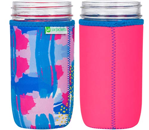 JarJackets Neoprene Mason Jar Protector Sleeve - Fits 24oz (1.5 pint) Jars (1, Hot Pink) ()