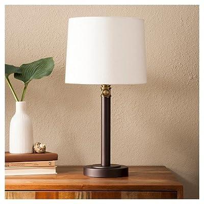 Davis Adjustable Column Table Lamp - Ebony/Brass - ThresholdTM