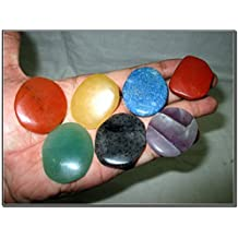 Fantastic Chakra Gemstone Palm Stone Set Worry Stone Thumb Stone Crystal Therapy Geometry Platonic Solid Sacred Air Water Earth Fire Hexagon Tetrahedron Hexahedron Icosahedron Square Octahedron Pentagon Star Merkaba Amethyst Lapis Lazuli Green Aventurine Red Jasper Yellow Aventurine Quartz Crystal Healing Chakra Balancing Unique Rare Energy Love Divine Spiritual Psychic Arch Angel Christmas Gift India Gemstone Original Authentic Genuine Crystals
