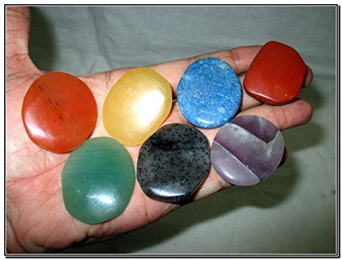 - Fantastic Chakra Gemstone Palm Stone Set Worry Stone Thumb Stone Crystal Therapy Geometry Platonic Solid Sacred Air Water Earth Fire Hexagon Tetrahedron Hexahedron Icosahedron Square Octahedron Pentagon Star Merkaba Amethyst Lapis Lazuli Green Aventurine Red Jasper Yellow Aventurine Quartz Crystal Healing Chakra Balancing Unique Rare Energy Love Divine Spiritual Psychic Arch Angel Christmas Gift India Gemstone Original Authentic Genuine Crystals