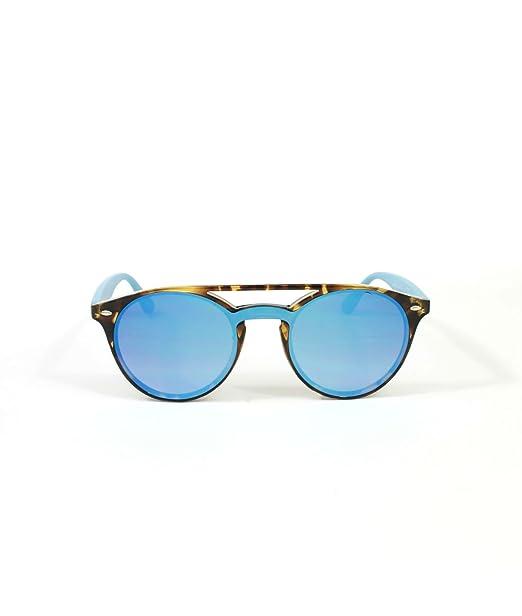 Gafas de sol MALIBU chica redonda pasta carey espejo azul ...
