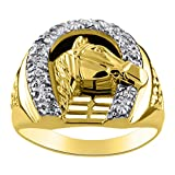 Diamond Horseshoe Ring LUCKY 14K Yellow or White Gold