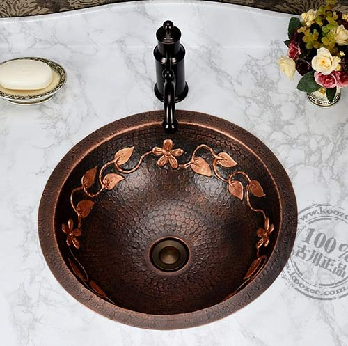 Ochoos Copper classical full bronze basin wash basin counter basin vintage handmade basin rustic flower