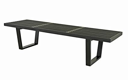 Magnificent Ergo Furnishings Modern Nelson Style Slat Bench Coffee Table 5Ft Black Creativecarmelina Interior Chair Design Creativecarmelinacom