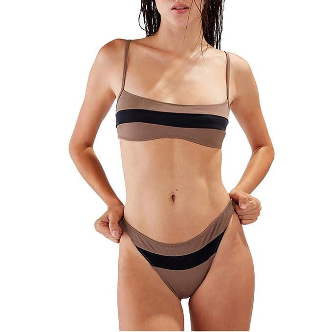 K-Youth Bikini Tanga Mujer Playa Patchwork Rayas Tankinis ...