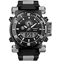 INFANTRY 50mm Big Face Mens Military Tactical Watch Black Large Heavy Duty Watches for Men Analog Digital