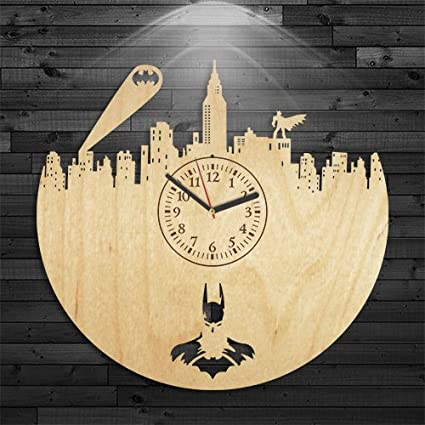 Amazon.com: Reloj de madera de Batman, reloj de Batman ...