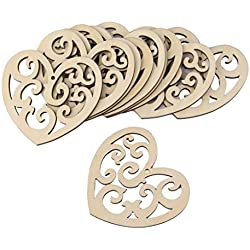 Veewon Valentine's Day Ornaments-10pcs Laser Engraving Wedding Wooden Pendant Love Valentine's Day Ornaments