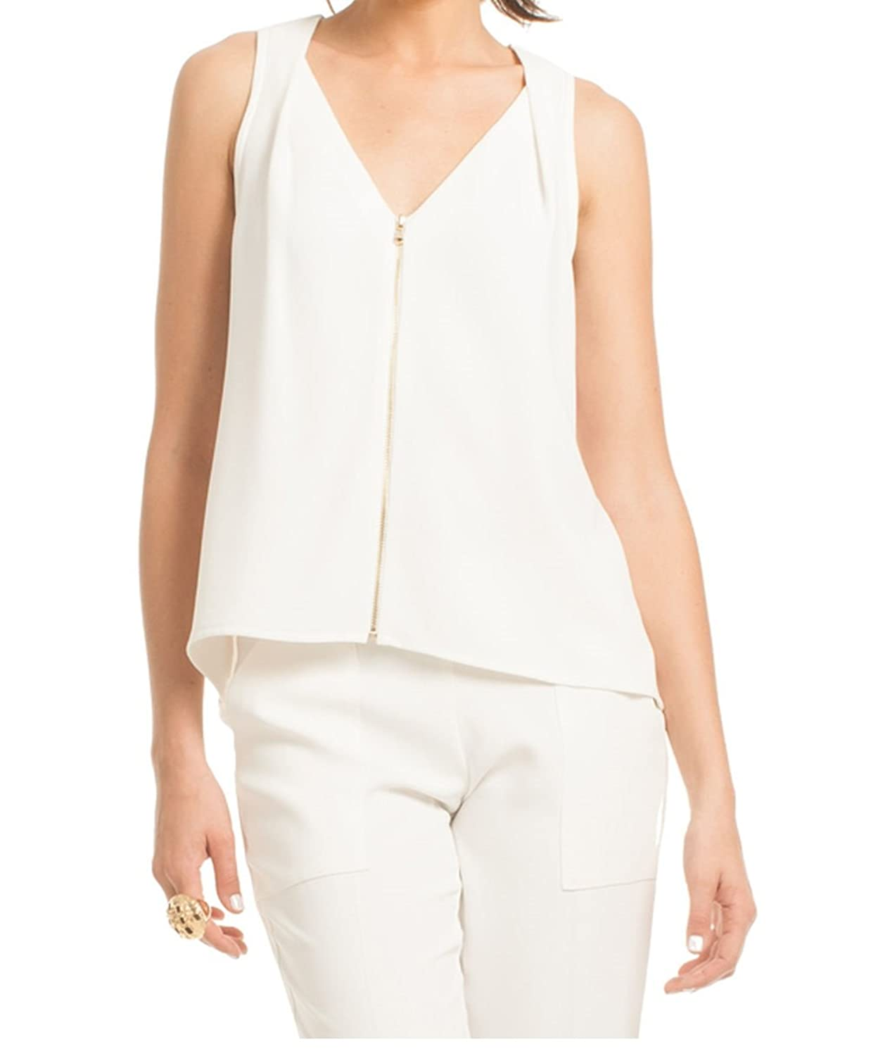 Trina Turk Women's Sleeveless Exposed Front Zip Banning Top Ivory Size Large