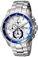 Casio Men's Edifice Quartz Watch with Stainless-Steel Strap, Silver, 9 (Model: EFM-502D-7AVCF