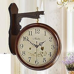 European Style,Two-sided Wall Clock/Antique,Creative,Living Room Clock/Modern,Silent,Rural,Clock-B 20inch