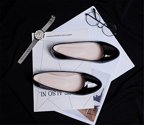 blanco negro SHINIK mujer baja rojo boca para B mujer individuales rosa de planos PU Comfort Zapatos verano Artificial Zapatos primavera Zapatos aqaUgfwr