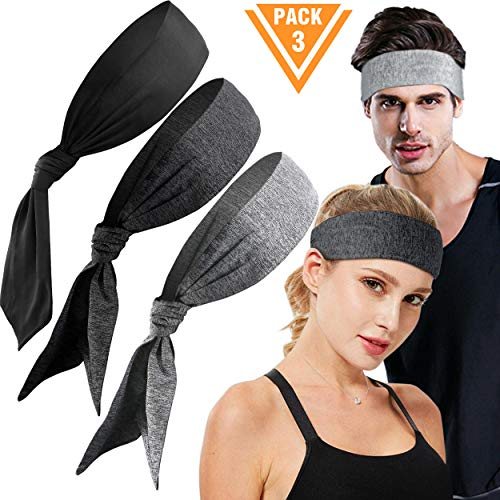 E LV Head Tie Sports Headband 3 Pack, Sweatband for Running, Working Out, Crossfit, Yoga, Basketball,Tennis, Athletics and Pirates with Stretch and Moisture Wicking for Men and Women