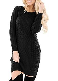 d8c3250649 Amazon.com  Zeagoo Women s Long Sleeve Crewneck Knitted Dress Slim ...