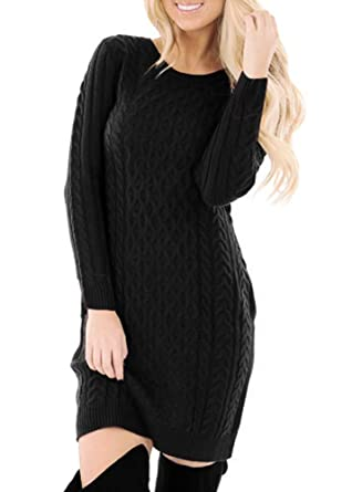 0e7ef56f0c Women's Cable Knit Winter Bodycon Long Sleeve Casual Sweater Dress Black S