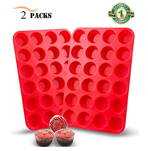 2 Packs Silicone Mini Muffin Pan, Unop 24 Cups BPA-Free Non-Stick Food Grade Silicone Baking Mold Round Cup for Cupcakes/Muffins/Mni Cakes (Red) by Unop