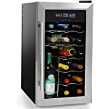 NutriChef 18 Bottle Thermoelectric Wine Cooler / Chiller | Counter Top Red And White Wine Cellar | FreeStanding Refrigerator, Quiet Operation Fridge | Stainless Steel