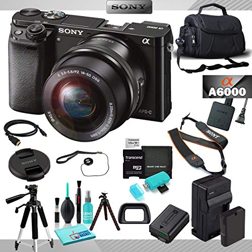 Sony Alpha a6000 Mirrorless Camera, 24.3MP APS HD CMOS Sensor, BIONZ X Image Processor, 3.0″ 921k-Dot Xtra Fine Tilting LCD with 16-50mm Lens Bundle with 8 Piece Accessories