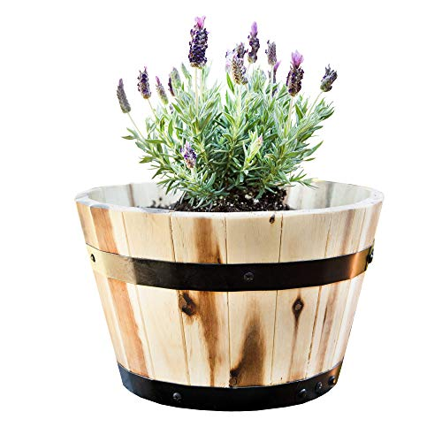 Villa Acacia Round Wooden Farmhouse Planter 11 Inch Plant and Flower Pot for Outdoor Gardens