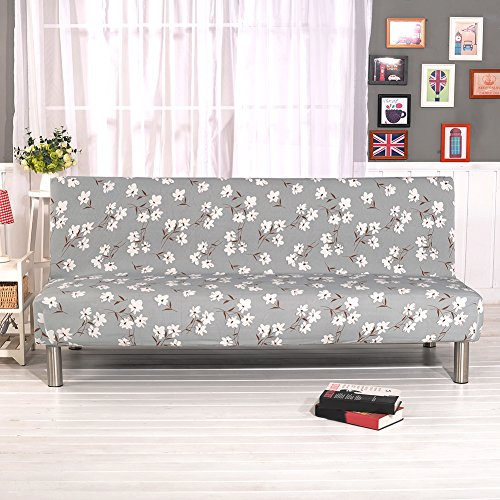 Floral Prints Armless Sofa Cover, Polyester Spandex Fabric Stretch Slipcovers Seater Couch Protector fit Folding Sofa Bed without Armrests