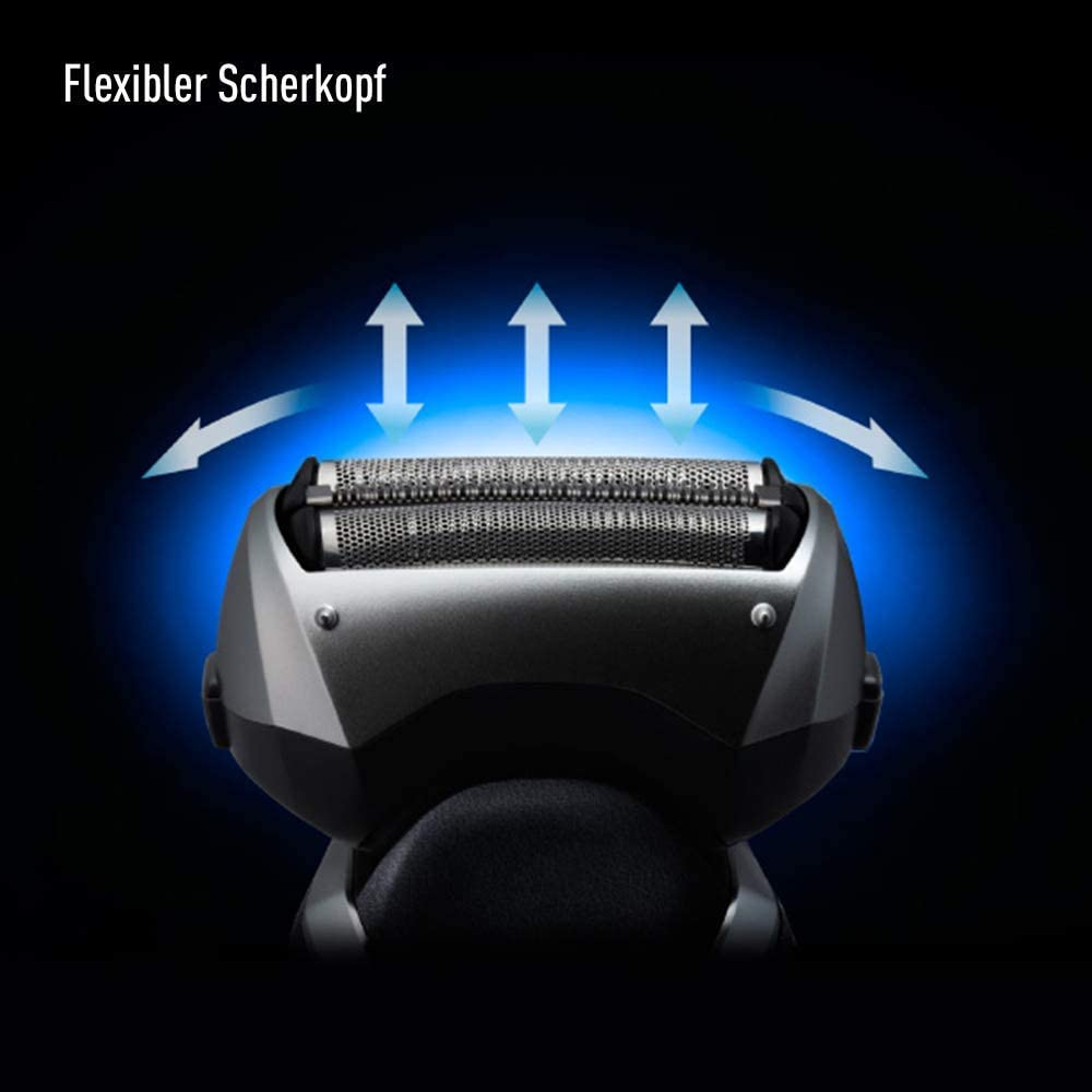 Panasonic ES-RT67-S503 - Afeitadora Eléctrica para Hombre (WET&DRY, Recargable, 3 Hojas de Acero Inoxidable, 5 Indicador LED, 100% Lavable) Plateado