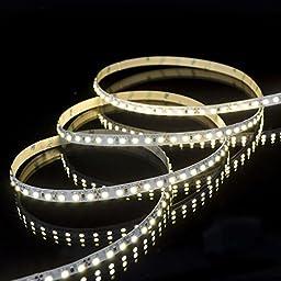 16.4 Ft Premium UL-Listed Indoor 3528 High Density Warm White LED Strip Light - 3000K, 600LEDs - 12V DC, 82 Lumens & 2.6 Watts / Ft - Adhesive Backed LED Tape Light / LED Light Strip