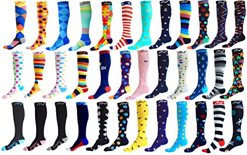 Compression Socks (1 pair) for Women & Men by A-Swift - Graduated Athletic Fit for Running, Nurses, Flight Travel, Skiing & Maternity Pregnancy - Boost Stamina & Recovery (Wonder Dots, S/M)