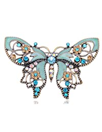 Alilang Antique Golden Aquamarine Blue Colored Rhinestones Butterfly Brooch Pin