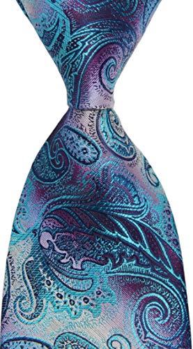 New Classic Paisley Purple Turquoise JACQUARD WOVEN Silk Men's Tie Necktie (Turquoise Paisley)