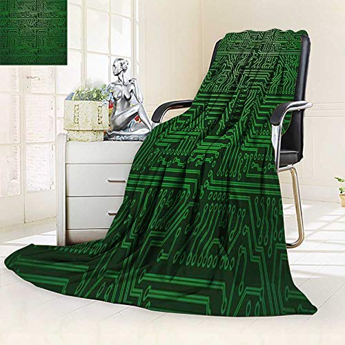 (YOYI-HOME Duplex Printed Blanket Warm Microfiber Circuit Board Green for Bed or Couch/59 W by 39.5