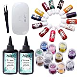 200ML Crystal Clear Transparent UV Epoxy Resin with 13 Liquid Color Dyes Pigment 12 Glitter Sequins with Compact Mini UV Lamp + Curved Pointed Tweezers, Jewelry Making Resin Crafts Kit