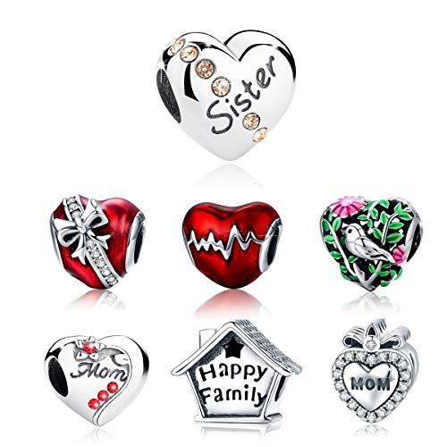 (BAMOER 925 Sterling Sister Charm Silver Heart Charm Beads Love Heart Shape Charm Fit Bracelet)