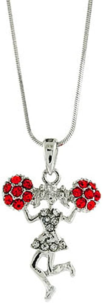 V G S Eternity Fashions Jewelry ~Small Red Pom Poms Cheerleader Pendant Necklace Neck 1254c