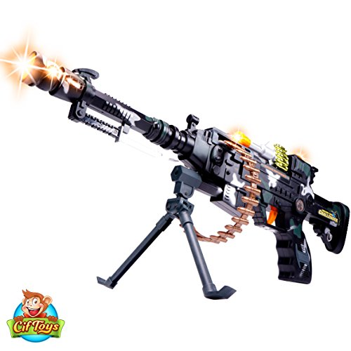 22'' Rapid Fire Machine Gun By CifToys: Realistic Toy Rifle Replica With Lights And Sounds For Army, Spy, Soldier, Assassin Game Play And Halloween Costumes. Best Toy Machine Gun